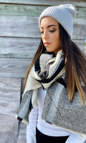 SB Luxe Winter White Two Tone Plaid Blanket Scarf