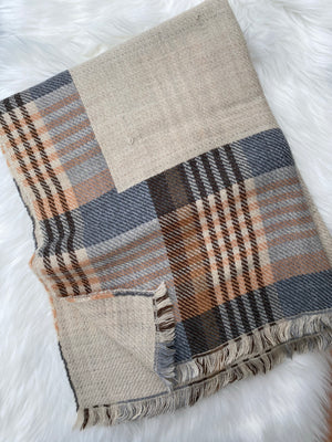 Fall Framed Plaid Blanket Scarf