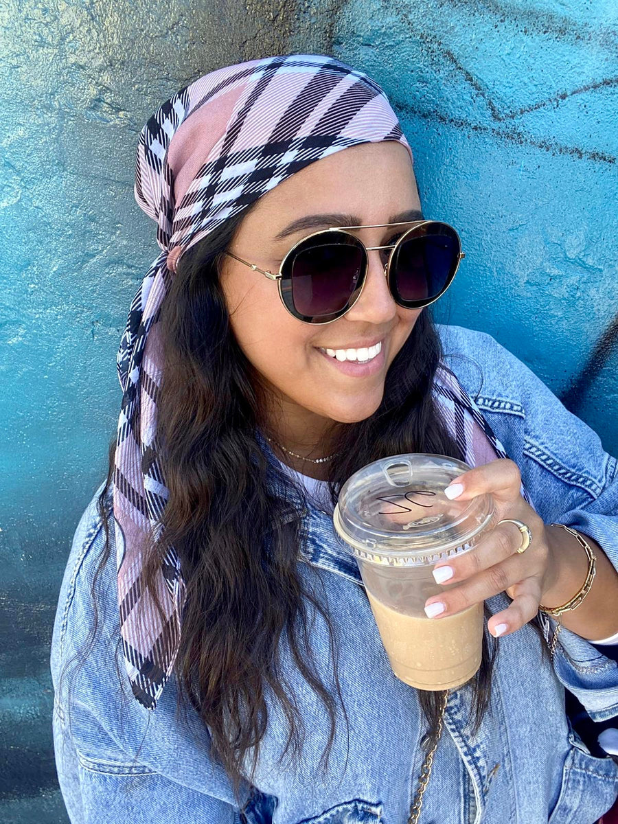 SB Pink Plaid Headscarf