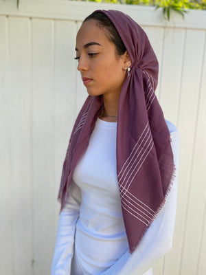 Pretied headscarf Plum with stripes