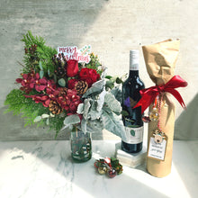 Load image into Gallery viewer, Christmas Fresh Flowers x Organic Wine Bundle