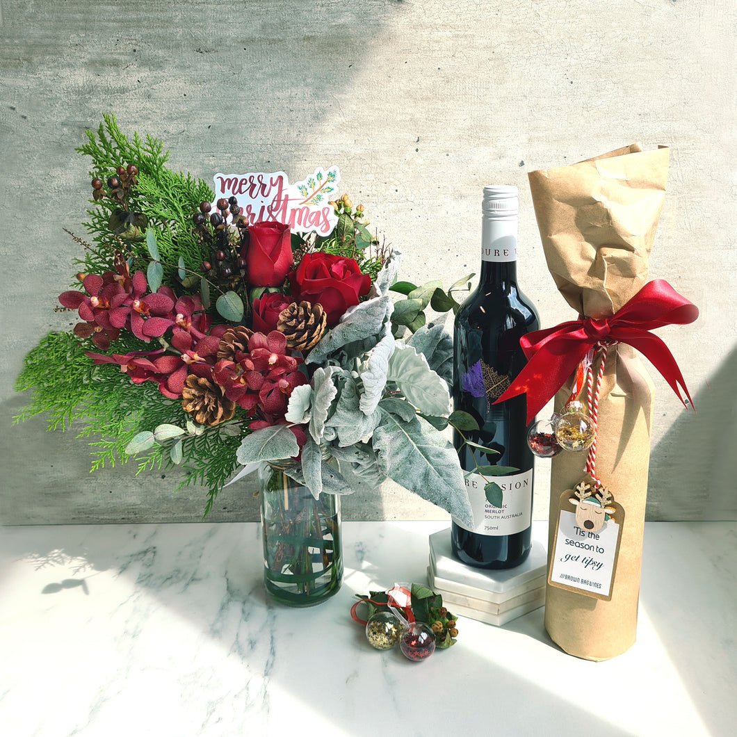 Christmas Fresh Flowers x Organic Wine Bundle