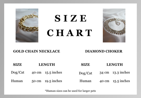 jewelry size chart guide gold cuban link chain and blind diamond choker necklace for pets and people
