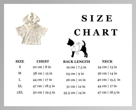spring fling floral pet hoodie sweater size chart