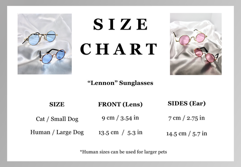 retro round sunglasses size chart guide for humans and pets dog cat