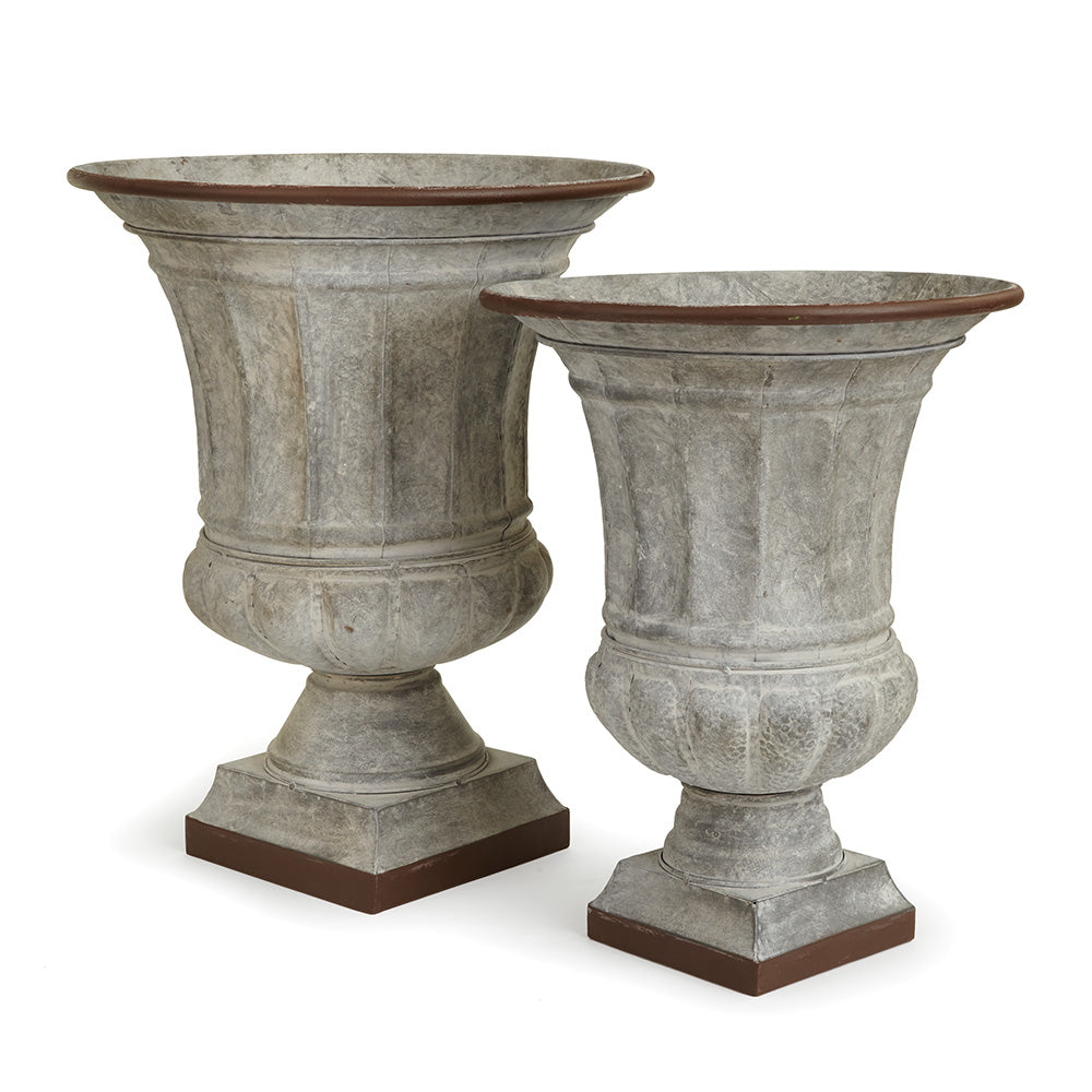 GALVANIZED CLASSIC URNS, SET OF 2