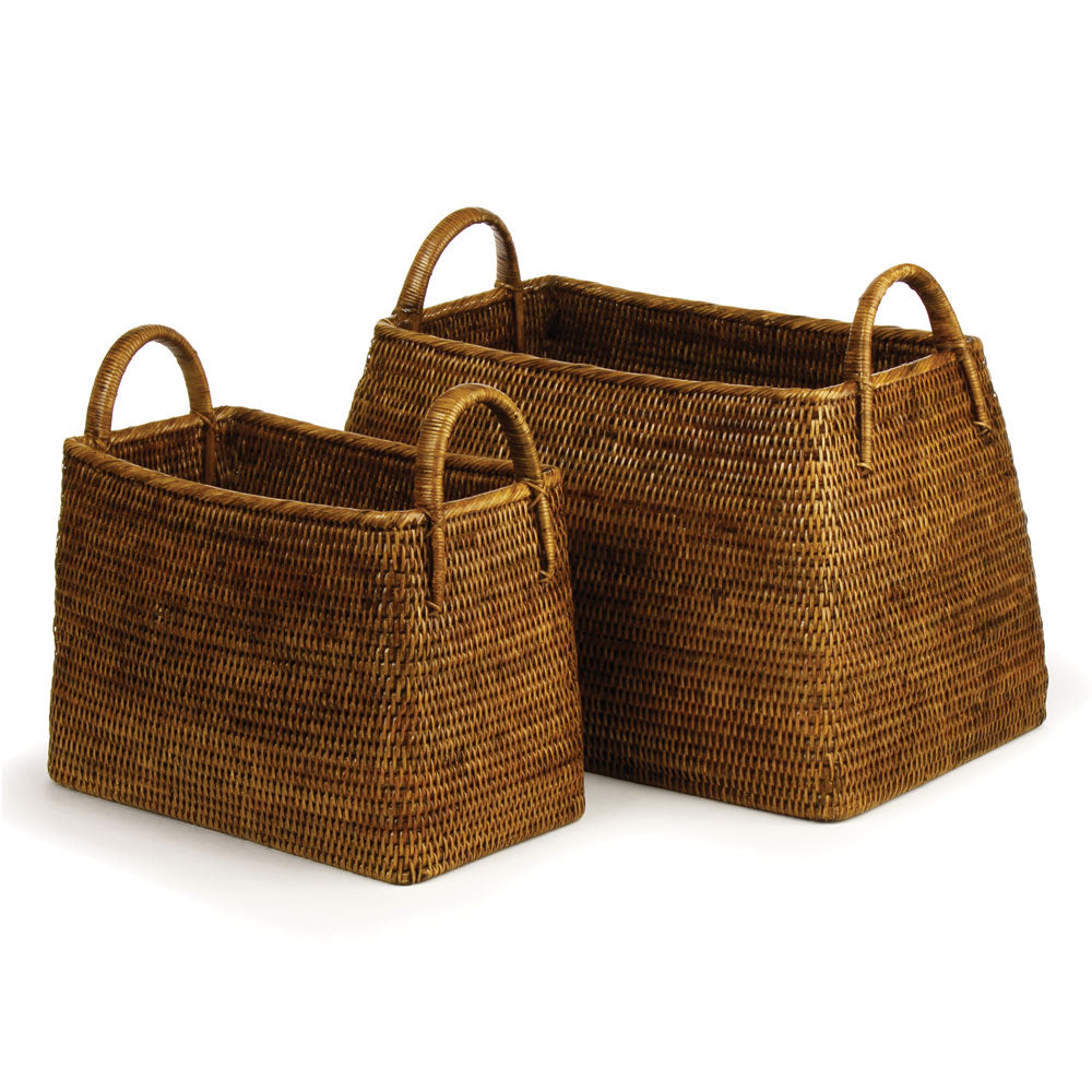 BURMA RATTAN NARROW MAGAZINE BASKETS, SET OF 2