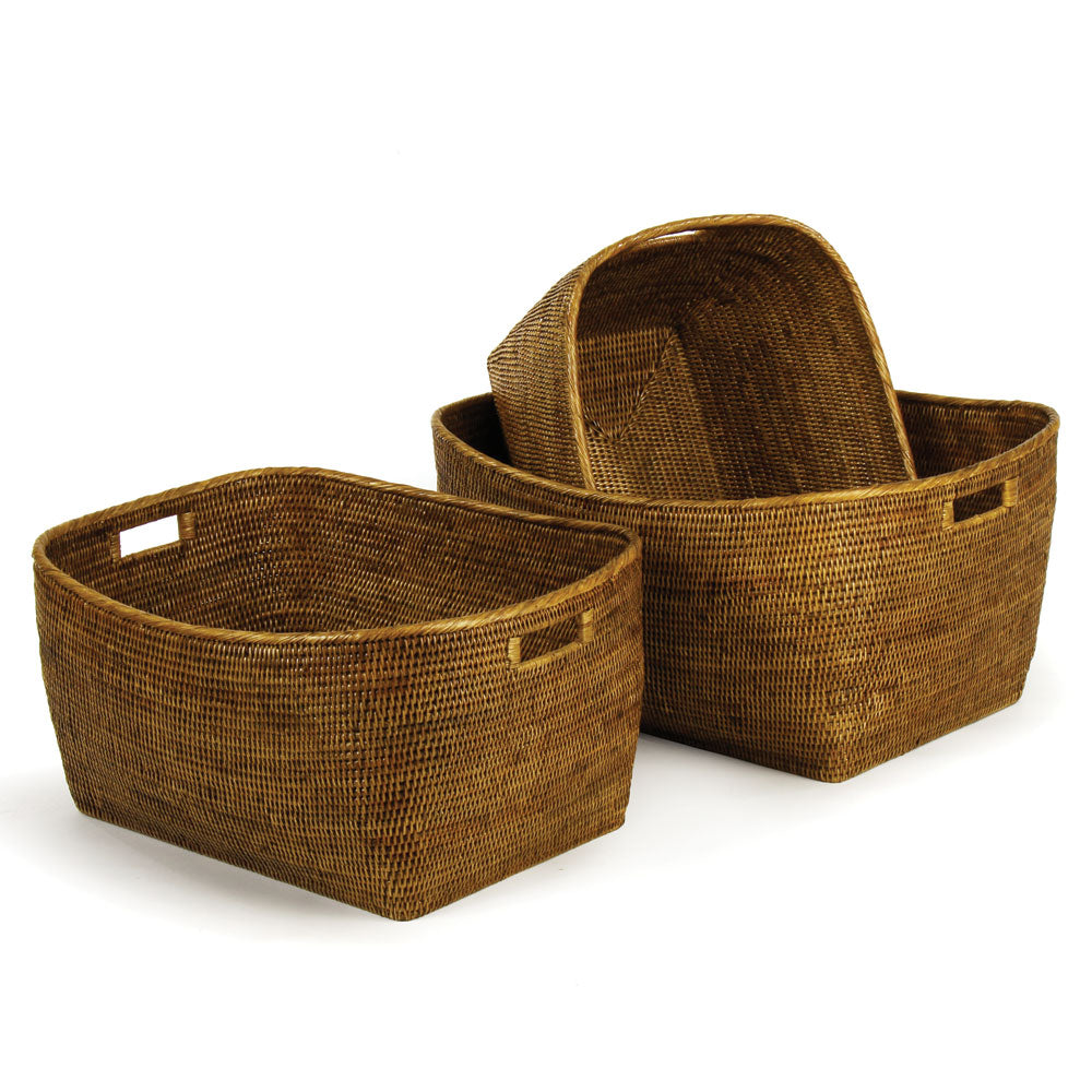 BURMA RATTAN FAMILY BASKETS WITH HANDLES, SET OF 3