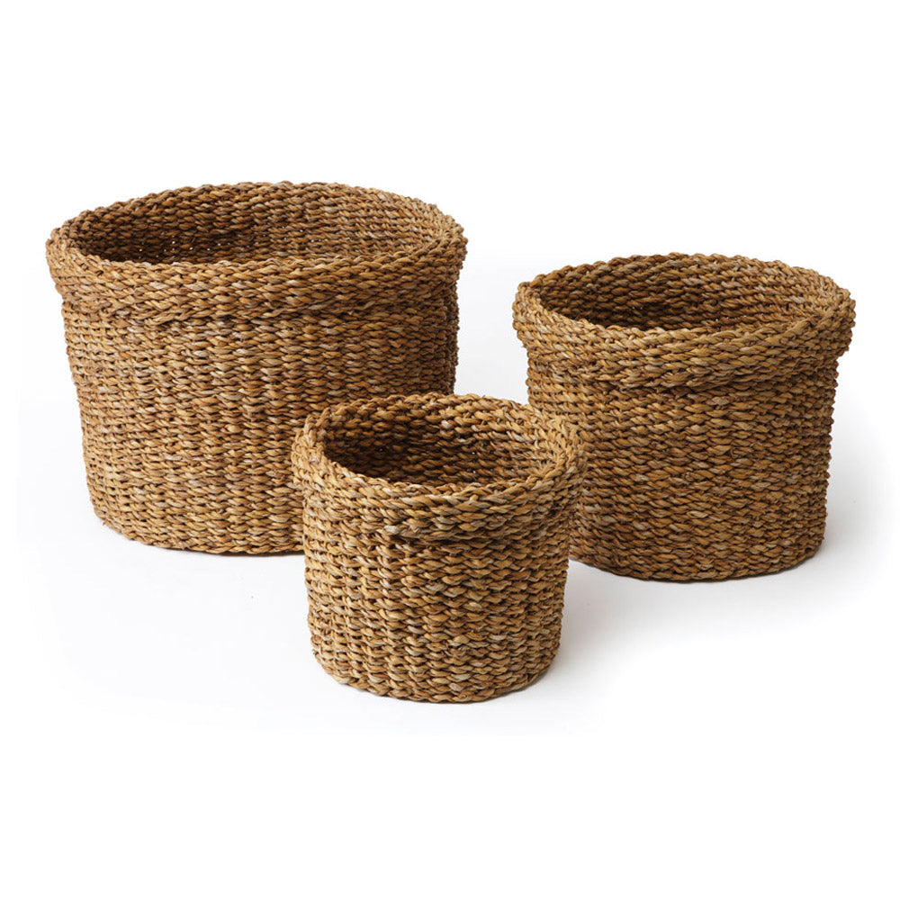 SEAGRASS ROUND BASKETS WITH CUFFS, SET OF 3