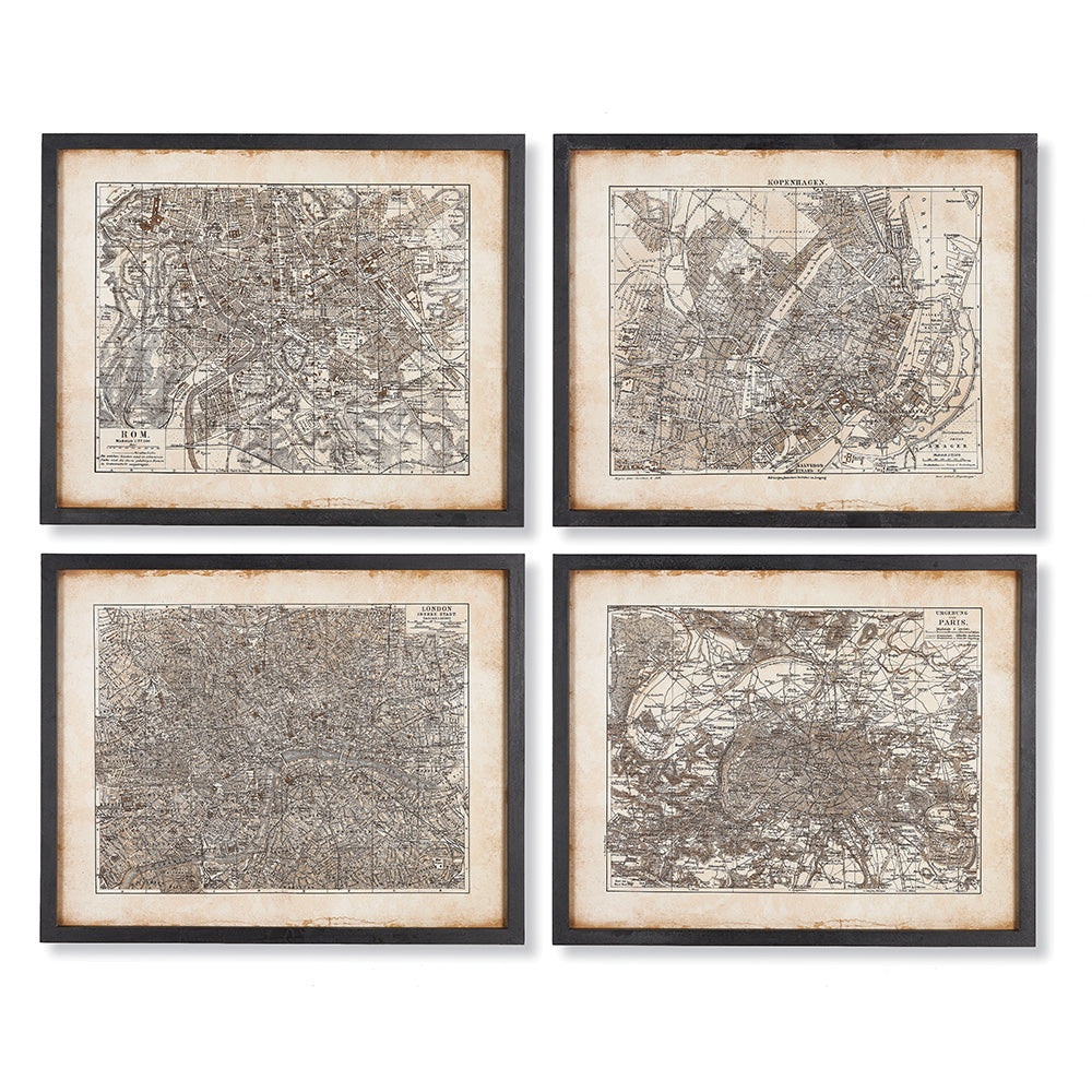 METROPOLIS MAP PRINTS, SET OF 4