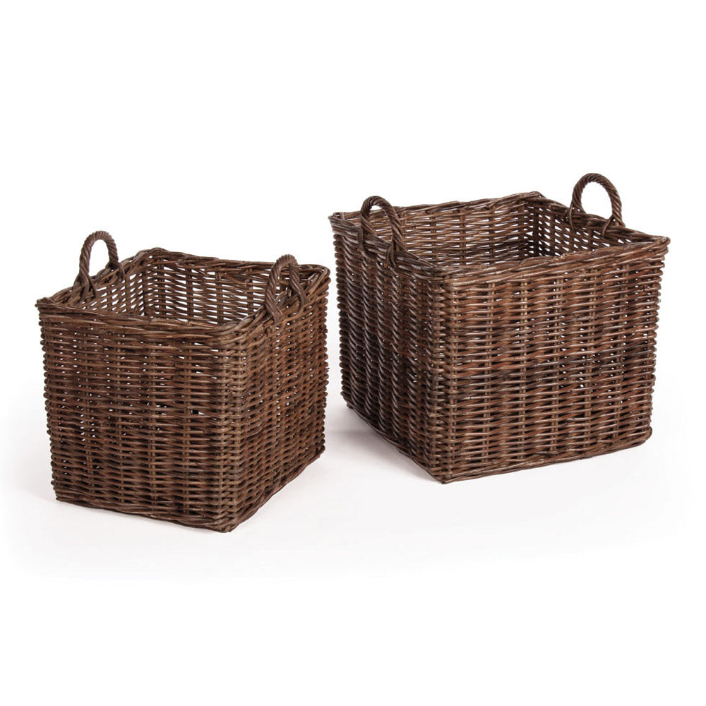 NORMANDY SQUARE BASKETS WITH HANDLES, SET OF 2