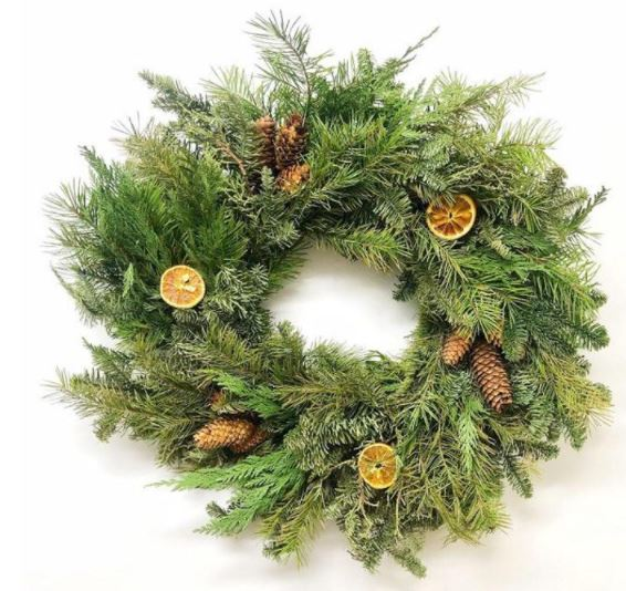 Citrus and Pine Winter Christmas Wreath