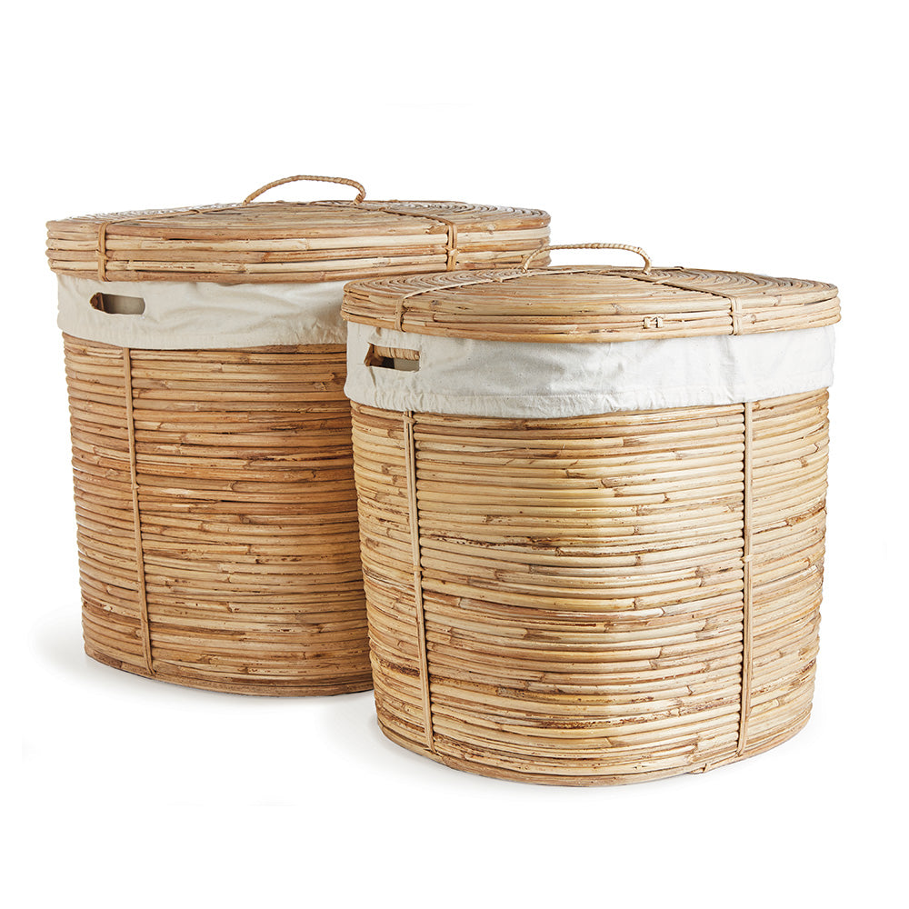 CANE RATTAN LAUNDRY HAMPERS, SET OF 2