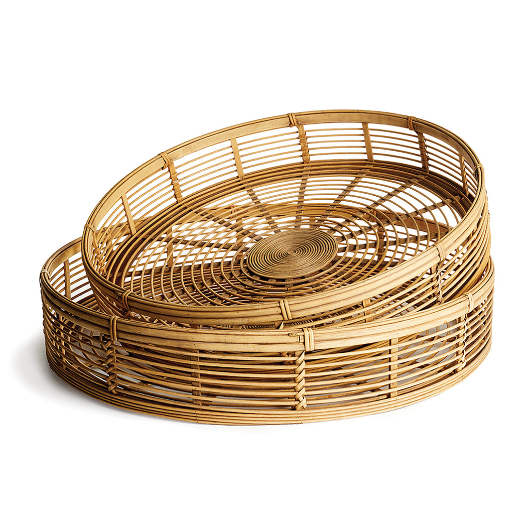 RIVER BAMBOO ROUND TRAYS, SET OF 2