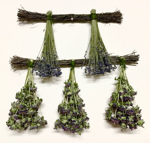 Dried Lavender Bundles & Dried Lemon Mint Hangers Set of 2 Country Home decor// lavender swags//Made and Grown in the USA // Mother's Day!