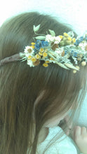 Load image into Gallery viewer, Yellow fields. Dried flower autumn crown with tansy, yarrow, mini daisies and lavender