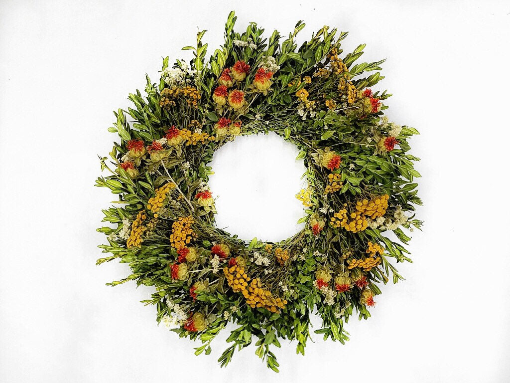 Forever Summer yellow fields dried flower wreath spring summer and fall wreath- pre-order for August delivery