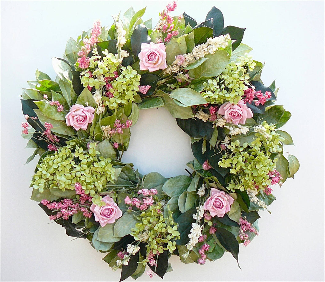 Mama's Garden Pink Rose and Hydrangea Wreath in 22