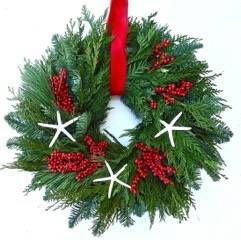 Seaside holiday wreath. Fresh Winter Wreath- with starfish, berries and Winter Greens wonderful Christmas by the sea decor--Nov. Shipping 22 Inch