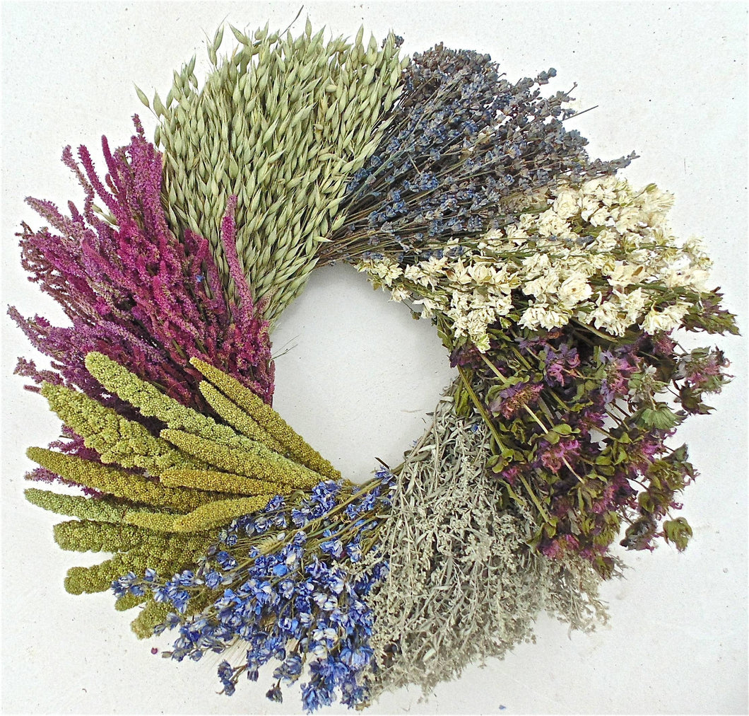 Sweet Country Wheel, spring wreath. Back ordered! Floral, herbal, grain and lavender every season wreath in pink, beige, blue & green tones 19-20 Inch