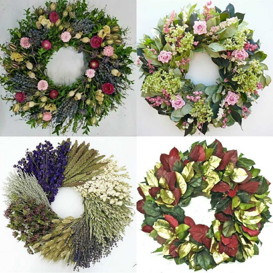 Holiday Gift Special! Four Seasons of Wreaths. Lavender, Grain, Holiday Wreath subscription- wonderful Christmas Gift