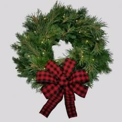 Classic Christmas fresh Noble Fir & White Pine wreath- battery operated white rice lights. Wonderful Winter and Christmas Wreath --Nov. ship
