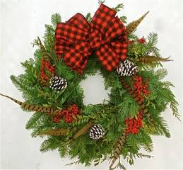 Fresh Winter Plaid and Feather Wreath- 22