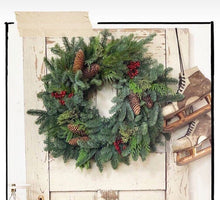 Load image into Gallery viewer, Winter Bounty woodland Wreath. Fresh evergreens and spruce pine cone wreath. Wonderful natural holiday Christmas Wreat/Centerpiece -Nov Ship