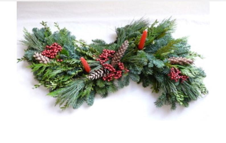 Classic Fresh woodland Christmas centerpiece with your choice of pinecones or poinsetta