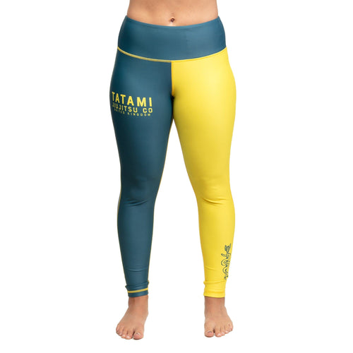 Tatami Ladies Supply Co Navy Grappling Leggings- Azul Marino-Amarillo