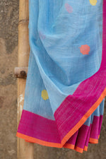 Load image into Gallery viewer, Rangrez Blue-Pink Polka Phulia Linen Saree