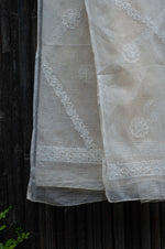Load image into Gallery viewer, Bageecha Off-White Chikankari Dupatta