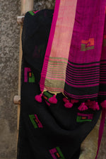 Load image into Gallery viewer, Rangrez Black Phulia Jamdani Linen Saree