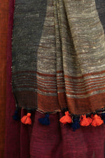 Load image into Gallery viewer, Rangrez Black-Red Color-Blocked Phulia Linen Saree