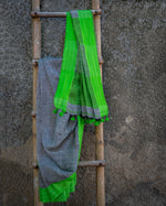 Load image into Gallery viewer, Rangrez Grey-Green Phulia Linen Saree