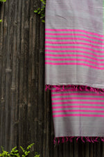 Load image into Gallery viewer, Silver Spring Pink-Striped Handwoven Silk Dupatta