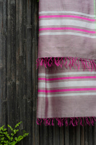 Silver Spring Grapeade Pink-Bordered Handwoven Silk Dupatta