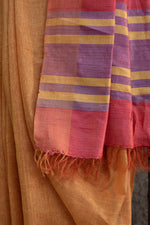 Load image into Gallery viewer, Amber & Red Bhagalpuri Cotton-Silk Saree