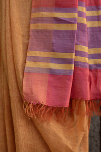 Amber & Red Bhagalpuri Cotton-Silk Saree