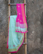 Load image into Gallery viewer, Rangrez Soft Aqua Polka Phulia Linen Saree