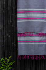 Load image into Gallery viewer, Silver Spring Grapeade Pink-Striped Handwoven Silk Dupatta