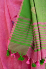 Load image into Gallery viewer, Rangrez Bubblegum Pink Polka Phulia Linen Saree