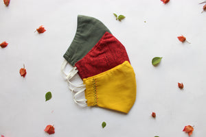 Pack of 3: Olive Green, Red, Yellow Snug Fit Face Masks