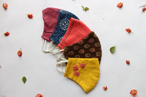 Pack of 5: Coral, Indigo, Rosewood, Brown, Yellow Snug Fit Face Masks