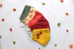 Pack of 5: Olive Green, Cream, Rosewood, Red, Yellow Snug Fit Face Masks