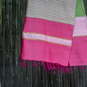 Bahaar Bougainvillea Pink Green Color-Blocked Handwoven Silk Stole