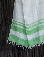 Load image into Gallery viewer, Comfy Cools White Green-Striped Linen Stole