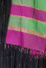 Load image into Gallery viewer, Bahaar Bougainvillea Magenta-Green Ombre Handwoven Silk Stole