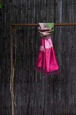 Load image into Gallery viewer, Bahaar Bougainvillea Pink Green Color-Blocked Handwoven Silk Stole