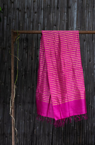 Bahaar Bougainvillea Magenta-Golden Striped Handwoven Silk Stole